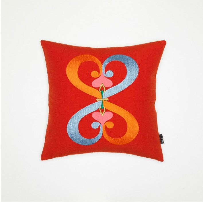 Kissen Embroidered Pillow Double Heart
