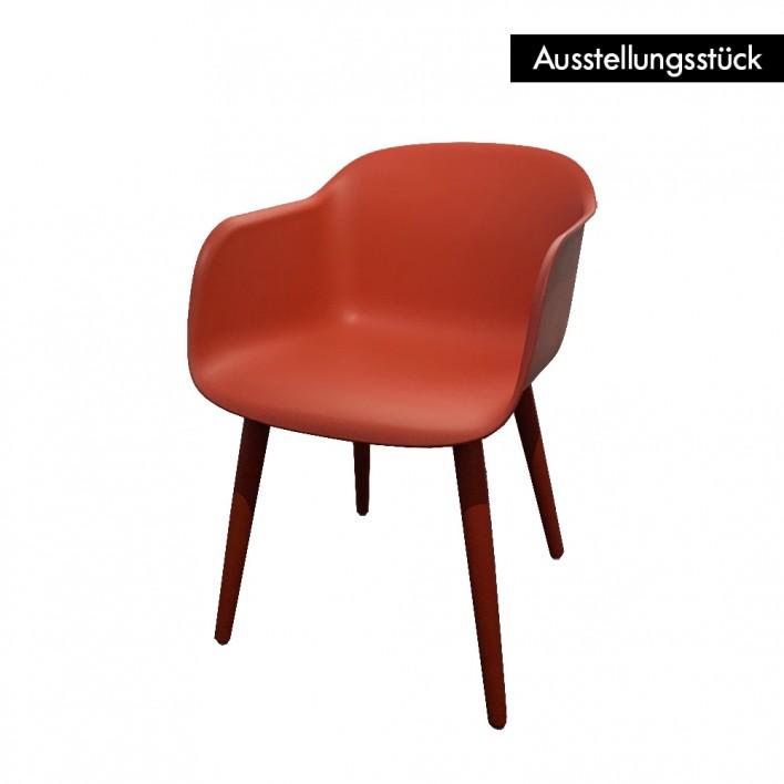 Fiber Arm Chair Wood Base rot - Ausstellungsstück