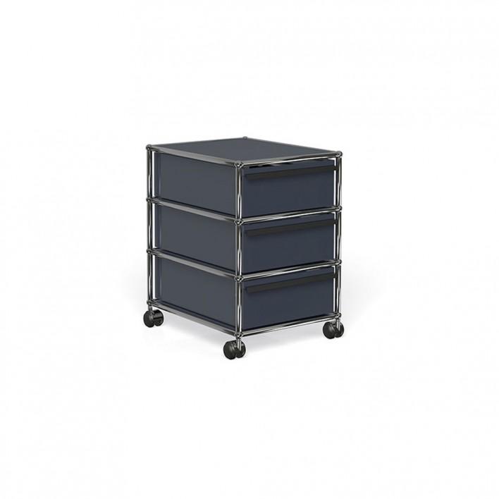 rollcontainer mit 3 schubladen von usm haller stoll online shop. Black Bedroom Furniture Sets. Home Design Ideas